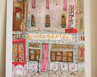 BOULANGERIE PARIS PRINT Signed Limited Edition, Mixed Media Painting, French Wall Art, Bakery Shop Watercolor Paris Hotel, Clare Caulfield