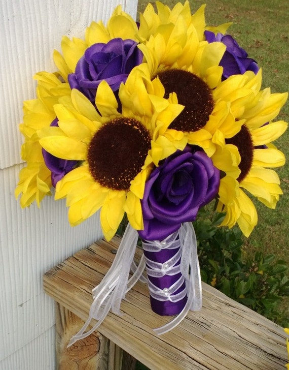 Sunflower And Pink Rose Bouquet Sunflower Bouqu...