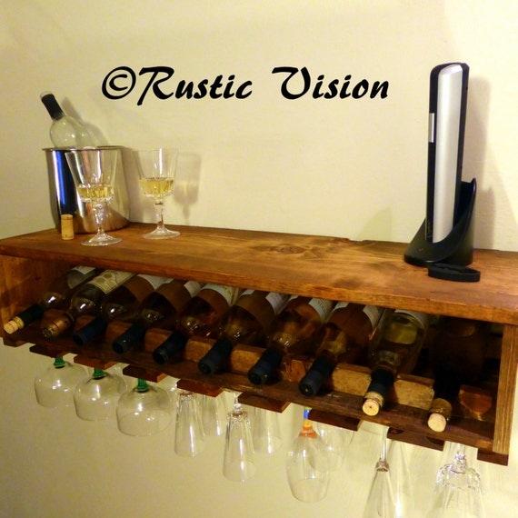 vin bouteille en verre support bois tag re mini par rusticvision. Black Bedroom Furniture Sets. Home Design Ideas