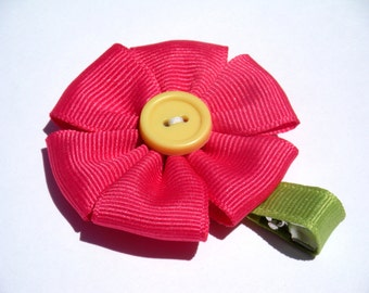 Flower Hair Bow - No Slip Clip - Pink and Yellow
