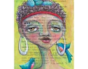 Ayo celebrating Spring, Summer, Birth, Love, Life - 8.5x11 print, African American Woman with Nest Afro, Bird Swing Earrings & Red Headband
