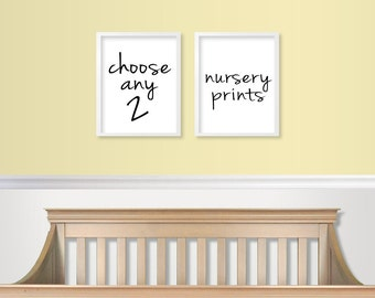 Nursery Wall Art - Nursery Prints - Nursery Wall Decor - Custom ursery Art - Choose Set of 2 - Any 2 Prints