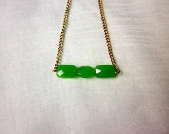 Three Green Bead Necklace