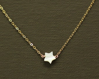 Star Necklace - Minimalist mother of pearl Star Necklace