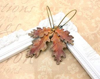 Autumn Earrings - Oak Leaf Earrings - Vintage Style Brass Patina Earrings - Bronze Handmade Hand Painted Fall Autumn Leaf Earrings Jewelry