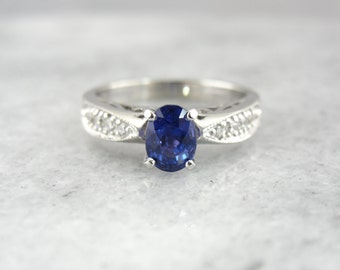 Contemporary Platinum Engagement Ring with Fine Ceylon Sapphire Gemstone 10R4RQ-P