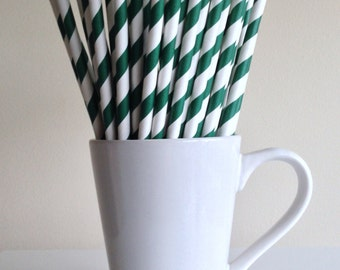 Dark Green Striped Paper Straws Hunter Green Party Supplies Party Decor Bar Cart Accessories Cake Pop Sticks Mason Jar Straws Graduation