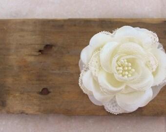 Ivory Wedding Hair Flower, Lace Rose Hair Accessories w/ Pearls, Bridal Hair Flower Clip, Lotus flower, wedding hair piece, hair accessory