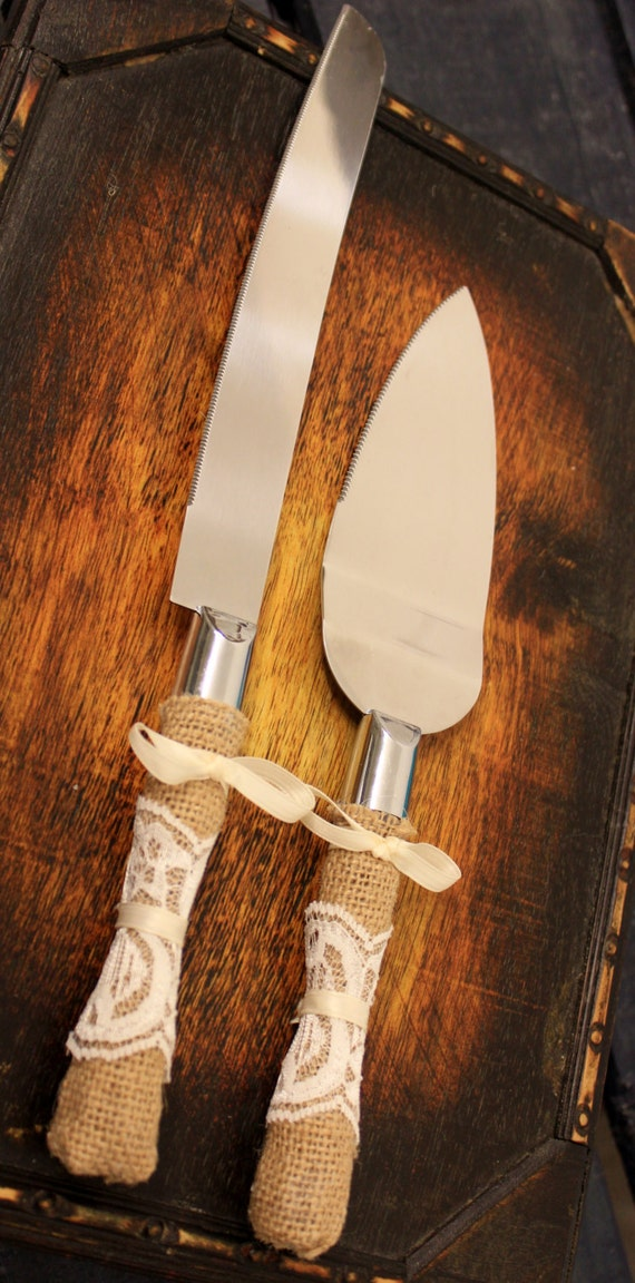 Wedding Cake Server And Knife Burlap And Lace Wedding Cake Cutter