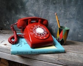 Vintage Red Rotary Telephone:  1970's Northern Electric Model NE-500 Desk Rotary Telephone
