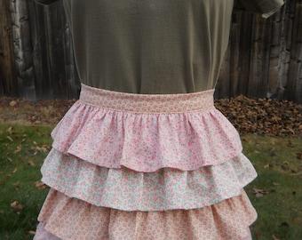 Retro Ruffled Apron / Pretty In Pink Half Apron / June Cleaver Apron