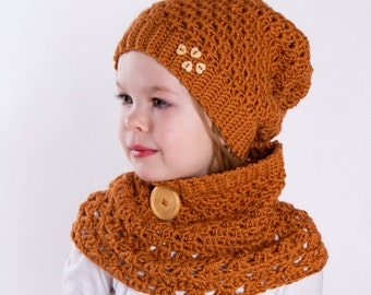 Paula set - slouchy hat and cowl crochet pattern in three sizes: child, teen, adult
