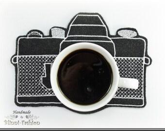 Camera Mug Rug, MugRug 18,5 x 13 cm, cup of coffee, Photo