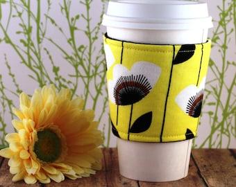 Fabric Coffee Cozy / Big Solo Flower Coffee Cozy / Flower Coffee Cozy / Coffee Cozy / Tea Cozy