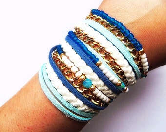 Blue Wrap Bracelet, Boho Leather Bracelet, Summer Jewelry
