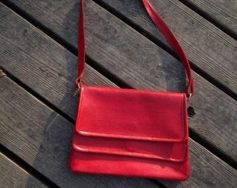 Red Shoulder Bag Purse Handbag Vintage