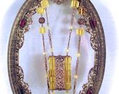 """Vintage CZECH GLASS NECKLACE Art Deco Era Facet Cut Citrine Yellow Czech Glass Bead Gold Tone Necklace 18.5"""" Long"""