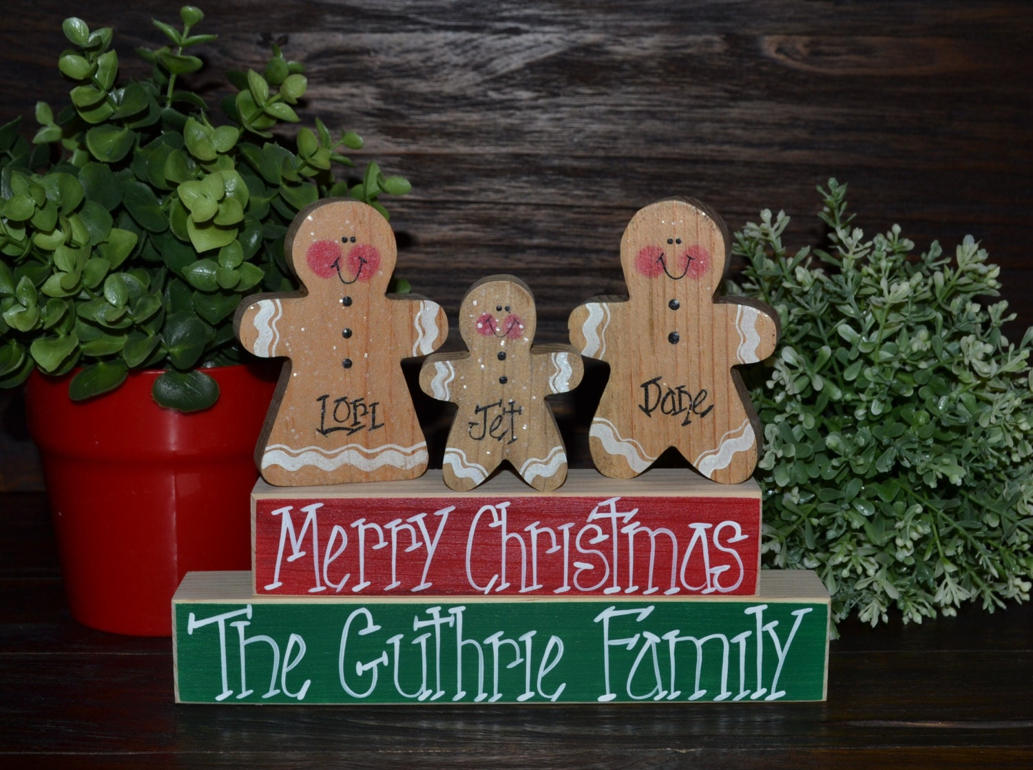 Gingerbread Christmas Decor Personalized Gingerbread Family