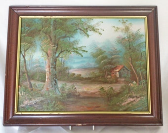 Original Collectibles Oil Painting Canvas Painting Wood Frame Vintage Countryside Country Farm House