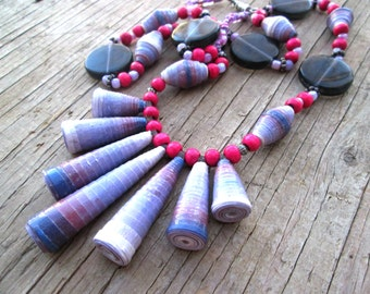 Paper Bead Necklace - Eco-friendly Jewelry - Recycled Paper Jewelry - Necklace set - First Anniversary - Upcycled, recycled, repurposed