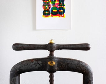 Letterpress - Colorful Abstract A4 Print