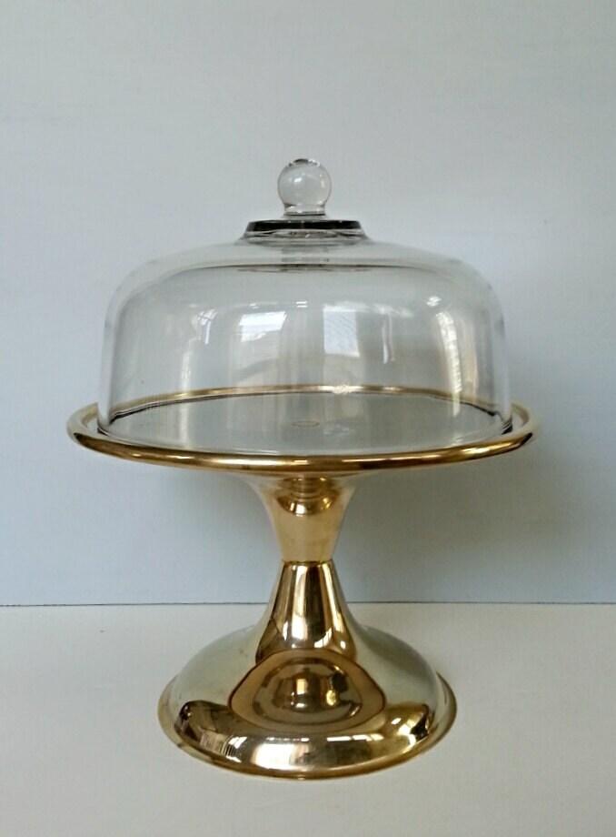 Vintage Gold Cake Stand Glass Cake Dome Wedding Dessert