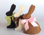 3 SCENTED Chocolate Easter Bunnies, Felt Chocolate Easter Bunnies with Satin Bows, felt food, Easter basket, Chocolate Bunny, Easter tea set