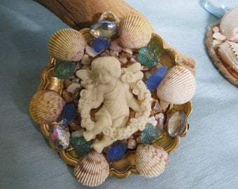 Beach ornament_Celestial Sea shell ornament_cherub ornaments