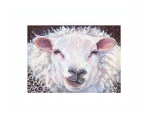 Original sheep ACEO, Sheep painting a day 342, ACEO painting, SFA, white sheep portrait, sheep art, Acrylic on Canvas, miniature