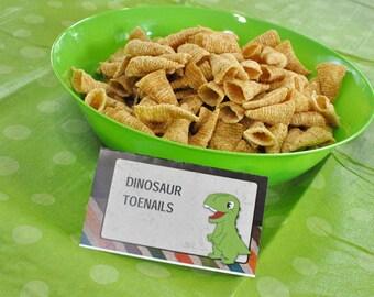 Adorable Dinosaur Party Menu Tent Cards Editable Text Printable