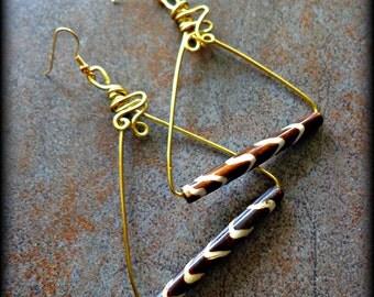 Batik Bone Wire Wrapped Pyramid Dangle Earrings - Ethnic, Triangular-Shaped African Inspired Jewelry