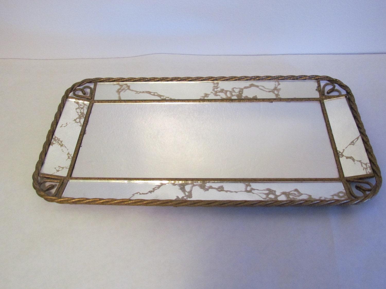 Vintage vanity mirror tray regency fancy veined marbled mirror for Fancy vanity mirror