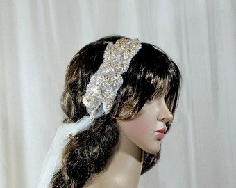 Romantic Beaded Bridal Headband, Lace Hair Accessory Bridal Headband, Bridal Hair Accessories, Wedding Headpiece, Lace Hair Accessory