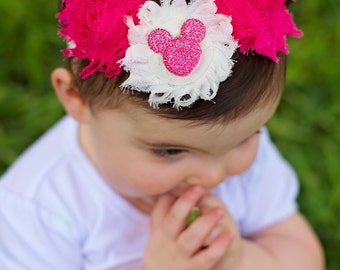Valentines Headband Minnie Inspired Shabby Baby Headband - newborn headband toddler headband- Infant Headand - Girl Headband