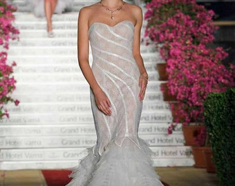 Retro french wedding dress in blush, Mermaid wedding dress for winter or summer, Alternative wedding dress in two pieces, Boho wedding dress