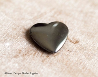 1 Hematite 25x6mm Heart Bead (F0063)