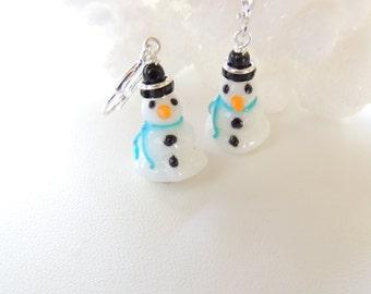 Snowman Earrings, Winter Earrings, Fun Christmas Earrings, Snowman Holiday Earrings, Christmas Jewelry, Holiday Jewelry, Gift Idea. Item198