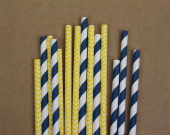 50 yellow chevron & navy blue striped (PS1007/PS0013) paper straws assortment - with printable DIY flags