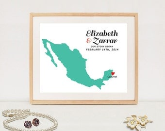 Mexico personalized wedding map - Custom wedding date map poster - Printable wedding gift - DIGITAL FILE!