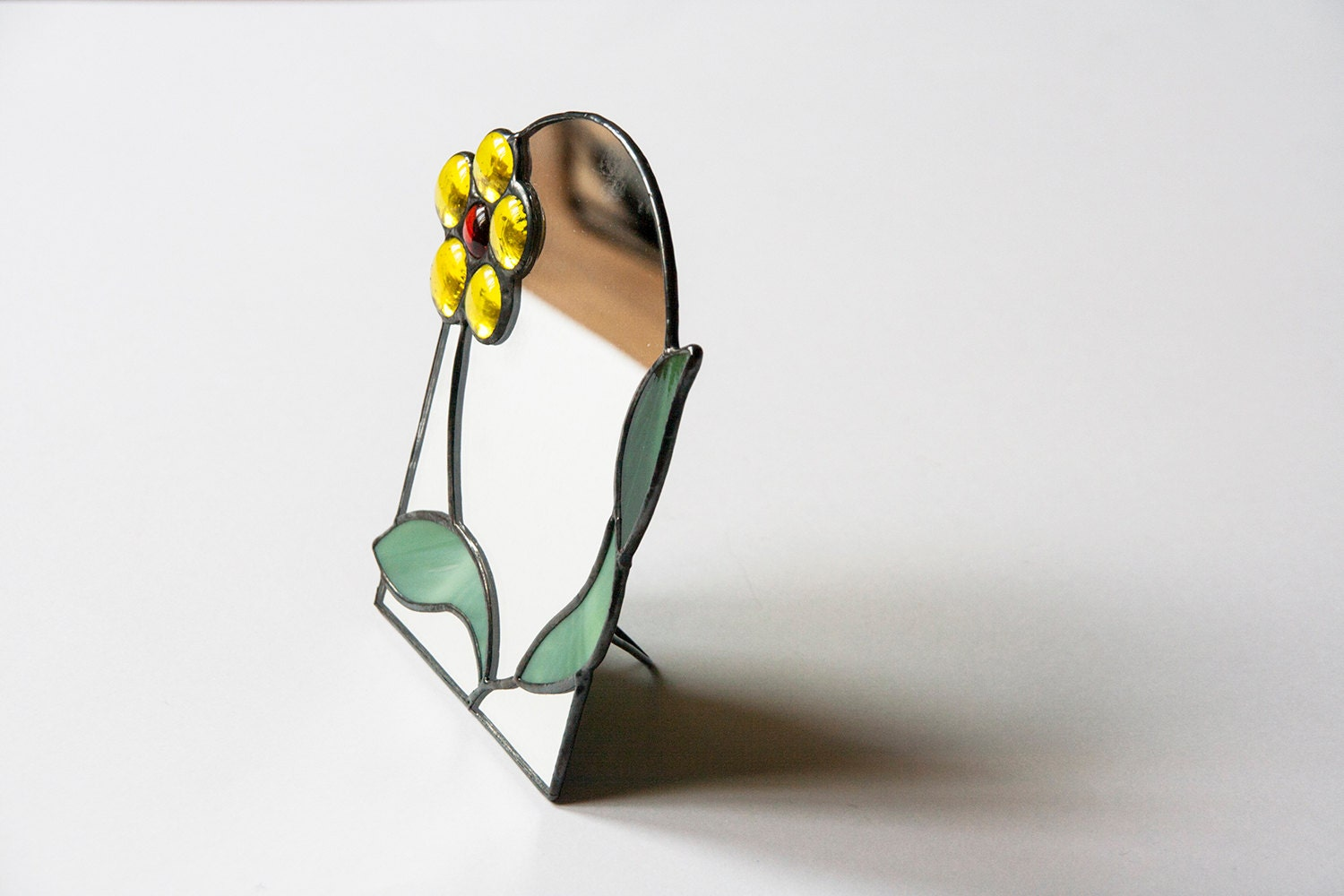 Standing mirror with stained glass frame yellow flower for Standing glass mirror