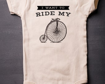 Baby Bodysuit - Queen Ride My Bicycle - Baby Shower Gifts - Organic One-Piece - Funny - Screen Printed - Baby Clothes - MicroThreads Apparel