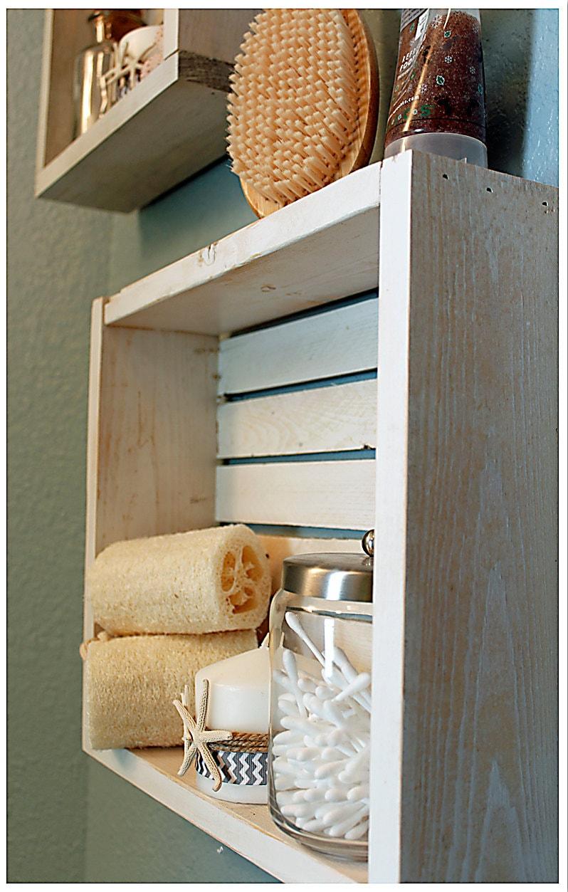 White Nautical Beach Shelf Bathroom Shelf Beach Crate Shelf