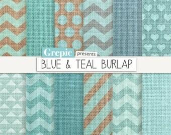 """Burlap digital paper: """"BLUE & TEAL BURLAP"""" blue burlap / linen textured chevron backgrounds, stripes, seafoam, turquoise, canvas patterns"""