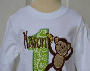 Personalized Birthday Monkey Applique Shirt or Onesie Girl or Boy