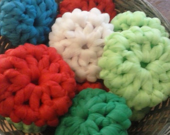 Pot Scrubbers SET OF FIVE Nylon Scrubbies Kitchen Scrubby, dish washcloth scrubby, gifts for housewarming, perfect gift for kitchen decor