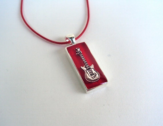 Electric Guitar necklace, music necklace, guitar charm, red resin pendant, musician jewelry, rock hipster jewelry, music teacher gift