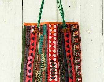 Green Tribal Tote Bag, Green Boho Bag, Green Fabric Bag, Embroidered Tote, Akha Hill Tribe Bag, Colorful tribal tote, Colorful tribal bag