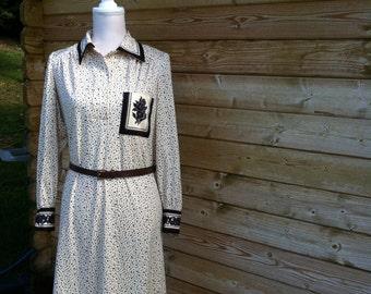 vintage dress-dots vintage dress-long sleeved vintage dress-70s dress-