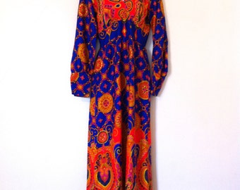 Free Ship / Vintage 1960s  MALIHINI HAWAII mod mad men era full-length maxi dress empire waist