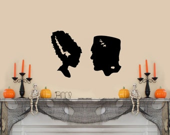 "Frankenstein and Bride Silhouette Halloween Wall Decal- Black (22""w X 15""h)"